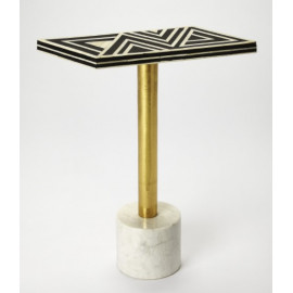 White Marble Black Bone Inlay Geometric Top Accent Table