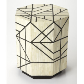 White & Black Bone Inlay Geometric Cylinder Accent Table