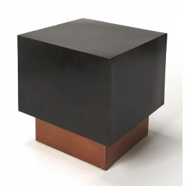 Black & Copper Base Square Iron Cube Bunching Accent Table