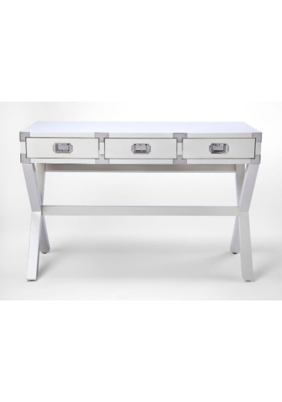 White Wood X Frame Desk with Silver Hardware