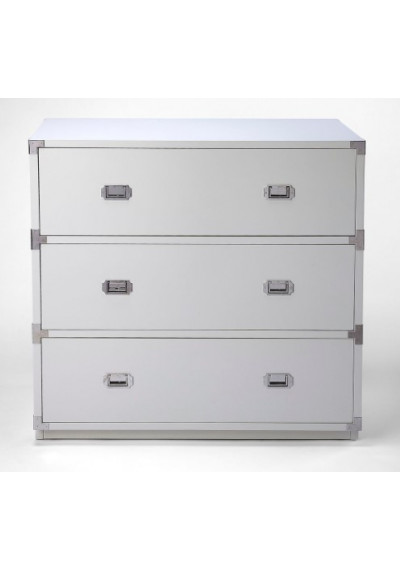 White Wood Chest of Drawers Silver Hardware
