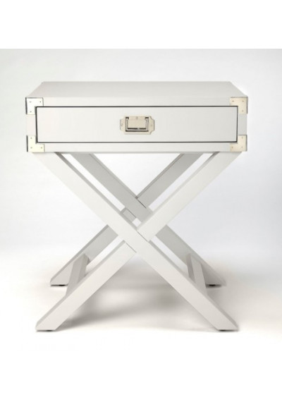 White Wood X Frame Side Accent Table Silver Hardware