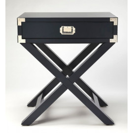 Dark Blue Wood X Frame Side Accent Table Silver Hardware
