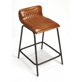 Brown Leather Aviator Style Half Back Counter Bar Stool