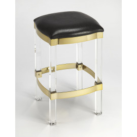Black Leather Gold Metal & Acrylic Leg Backless Counter Bar Stool