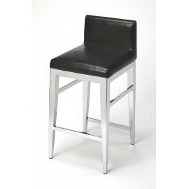 Polished Chrome Black Leather Contemporary Glam Counter Stool