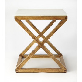 Light Wood X Frame Base White Marble Top Accent Table