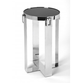 Black Stone Top Silver Legs with Buckle Accents Side Table