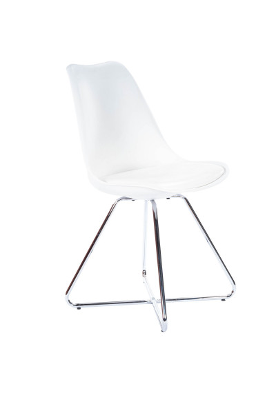 White Leather & Silver Nickel Frame Mid Century Modern Dining Chair