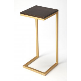Dark Wood Top Gold Base C-Shape Accent Table