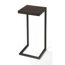 Dark Wood Top Black Base C-Shape Accent Table