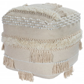 Natural Colors with Tassels Square Bohemian Ottoman Pouf