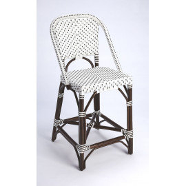 Dark Brown & White Patterned Chocolate Rattan Counter Stool