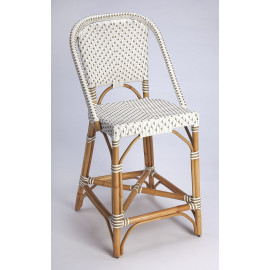 Beige & White Patterned Rattan Counter Stool