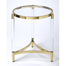 Clear Acrylic Gold Accent Round Accent Side Table