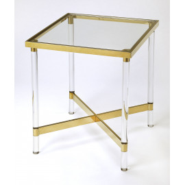 Clear Acrylic Gold Accent Square Accent Side Table