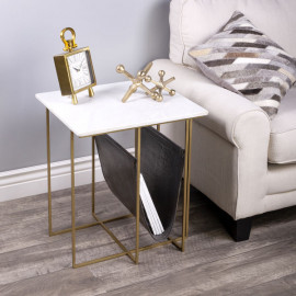 Gold Metal Leather White Marble Magazine Holder Accent Table