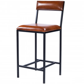 Brown Leather Black Iron Body Armless Counter Stool with Back