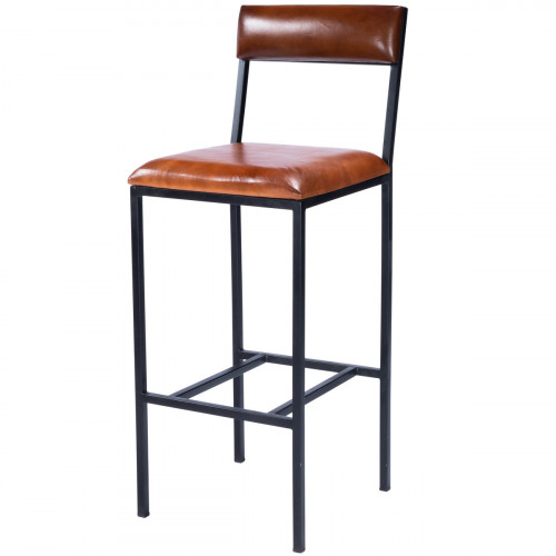 Brown Leather Black Iron Body Armless Bar Stool with Back