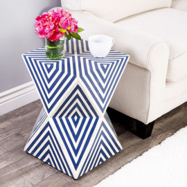 Blue & White Marble Bone Inlay Geometric Cube Accent Table
