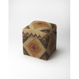 Southwestern Kilim Jute Look Storage Cube Footstool
