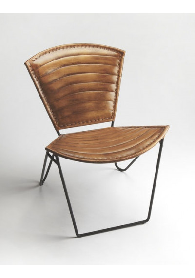 Brown Stitched Leather & Iron Curved Frame Armless Lounge Chair