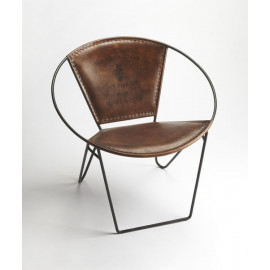 Brown Leather Stitched & Iron Hoop Frame Side Lounge Chair
