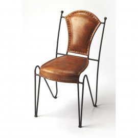Rustic Metal & Stitched Leather Side Dining Chair