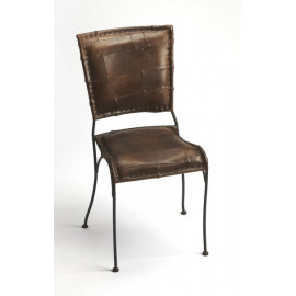 Leather Patchwork & Metal Frame Side Dining Chair
