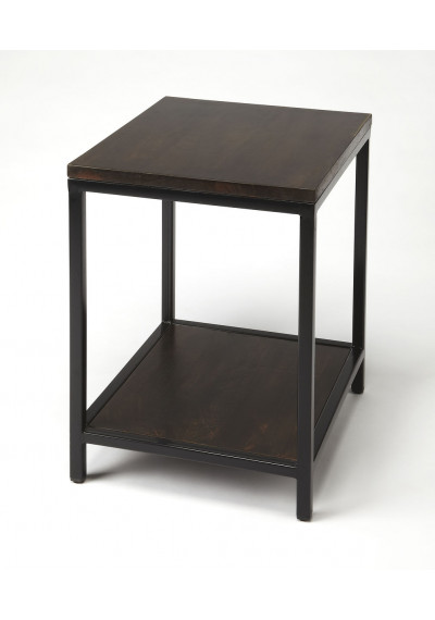 Dark Wood & Metal Side Accent Table