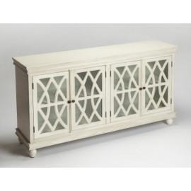 White Wood Cabinet Sideboard Fretwork Doors