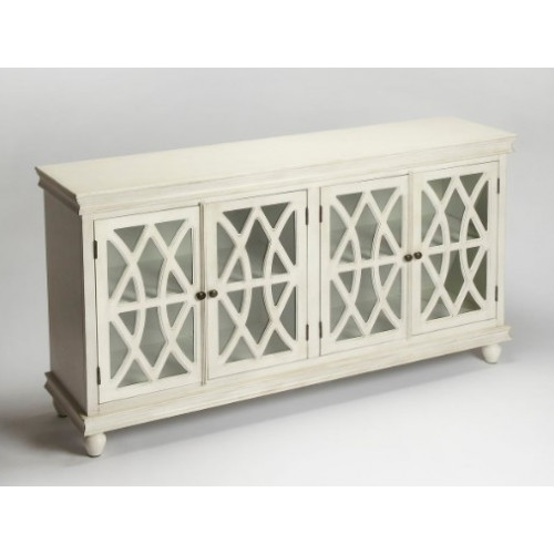 White Wood Cabinet Sideboard Fretwork Doors