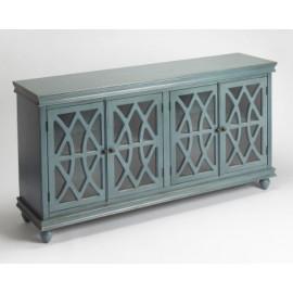 Vintage Blue Wood Cabinet Sideboard Fretwork Doors