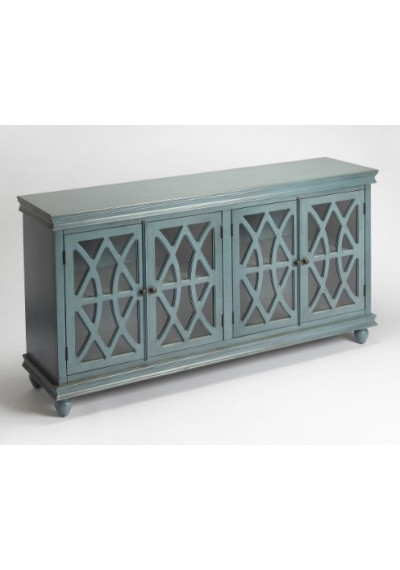 Vintage Blue Wood Cabinet Sideboard Fretwork Doors
