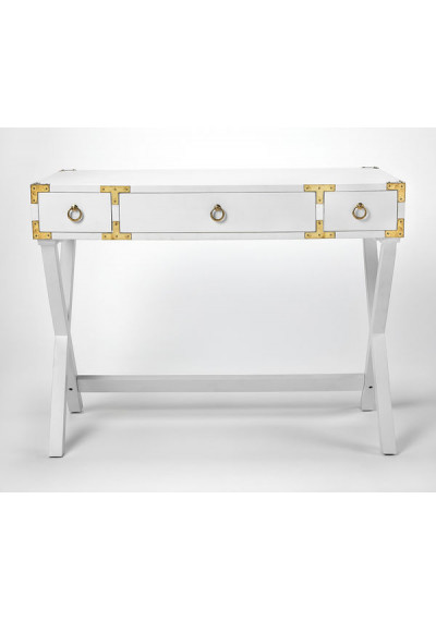 White Wood X Frame Desk with Gold Hardware