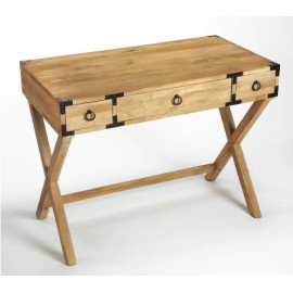 Natural Mango X Frame Wood Desk with Brass Hardware