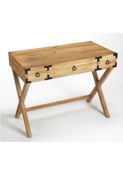 Natural Mango X Frame Wood Desk with Brass Hardware