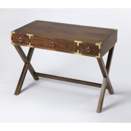 Mango Brown X Frame Wood Desk with Brass Hardware