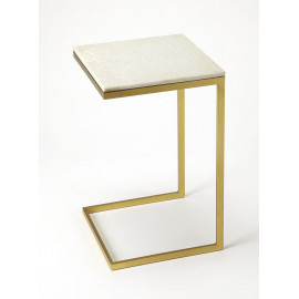White Marble Top Gold Base C-Shape Accent Table
