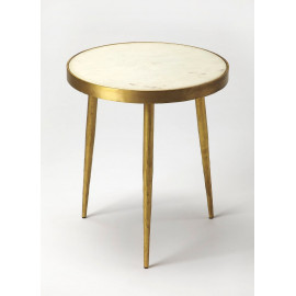 Gold & White Marble Mid Century Modern Accent Side Table