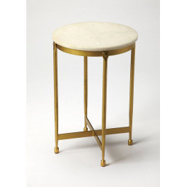 Brass & White Marble Mid Century Modern Accent Side Table