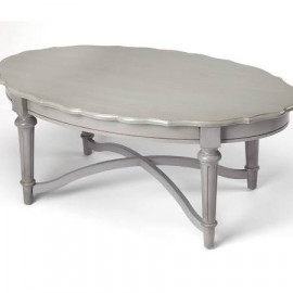 Grey Traditional Oval Scalloped Edge Coffee Table