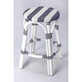 Navy Blue & White Stripe White Rattan Backless Counter Stool