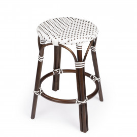 Dark Brown & White Patterned Chocolate Rattan Backless Counter Stool