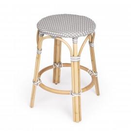 Grey & White Woven Rattan Backless Counter Stool