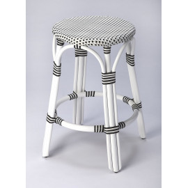 Black & White Patterned White Rattan Backless Counter Stool