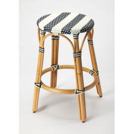 Blue & White Stripe Rattan Backless Bar & Counter Stool