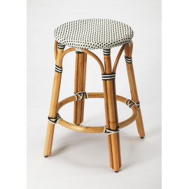 Black & White Patterned Rattan Backless Bar or Counter Stool