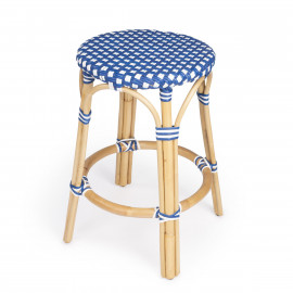 Blue & White Patterned Rattan Backless Counter Stool