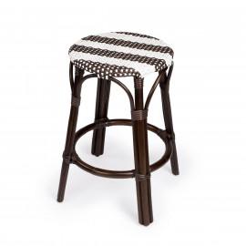 Dark Brown & White Stripe Dark Rattan Backless Counter Stool